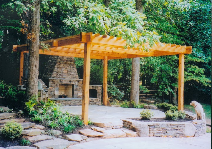 northern virginia pergola fireplace