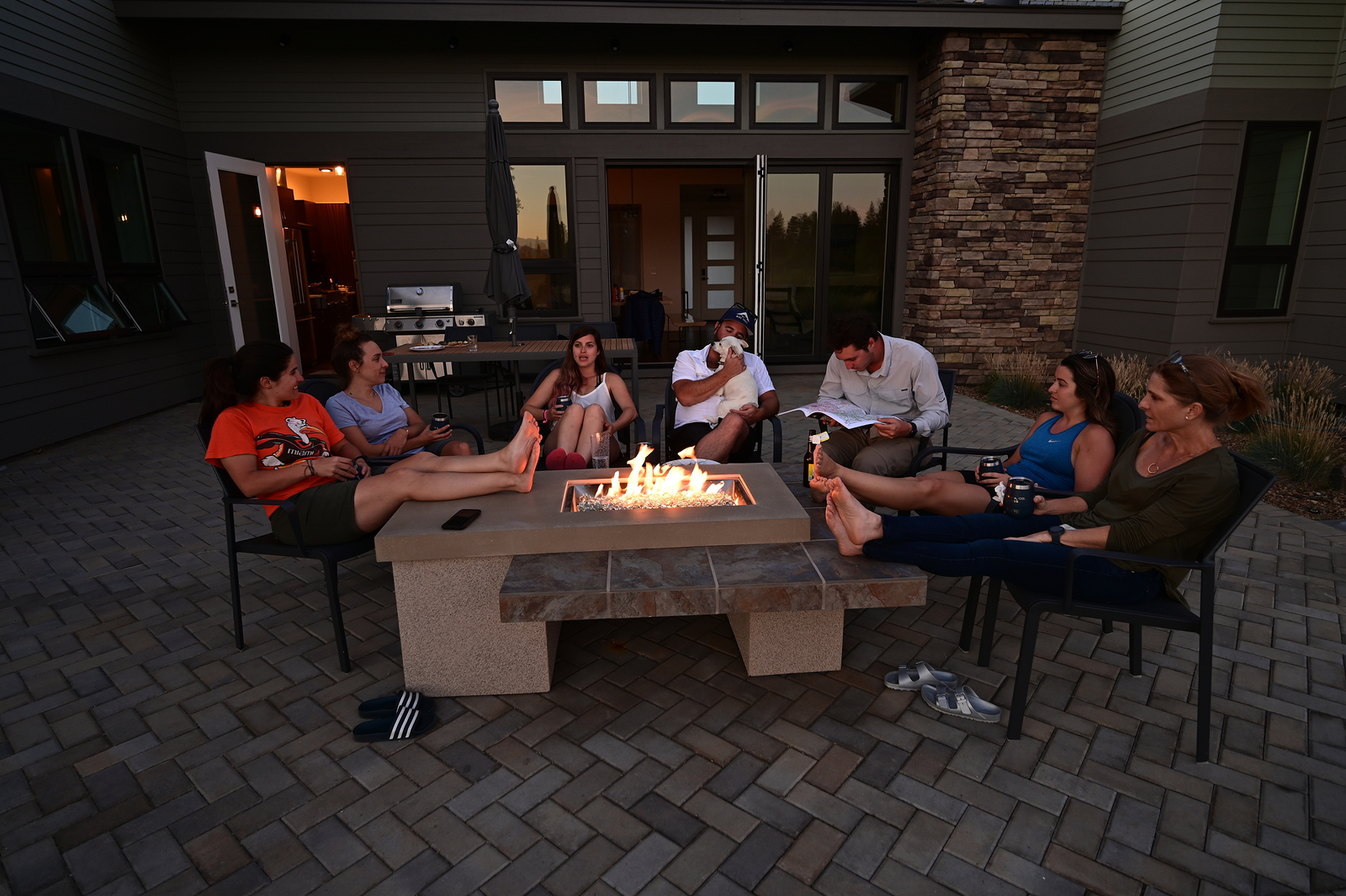 Outdoor Fireplace Gathering